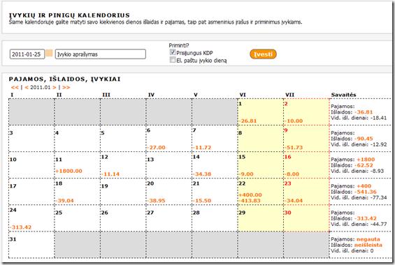 Išlaidų ir pajamu kalendorius