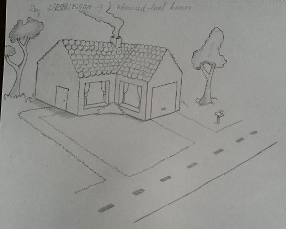 Namas su medžiais šalia kelio